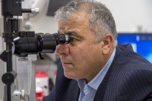 man getting an eye checkup